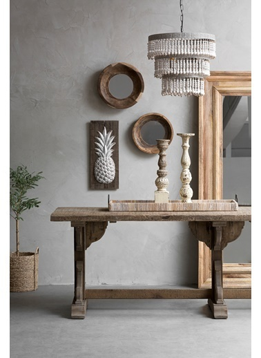 Warm Design Köknar Ananas Duvar Dekoru Beyaz